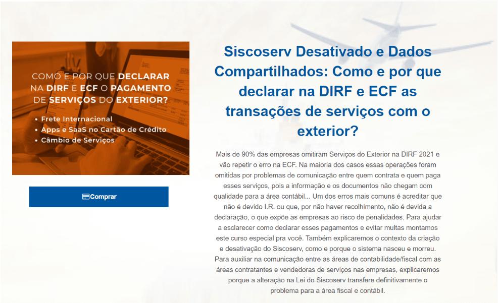 Alteração na lei do Siscoserv - curso sobre DIRF e ECF