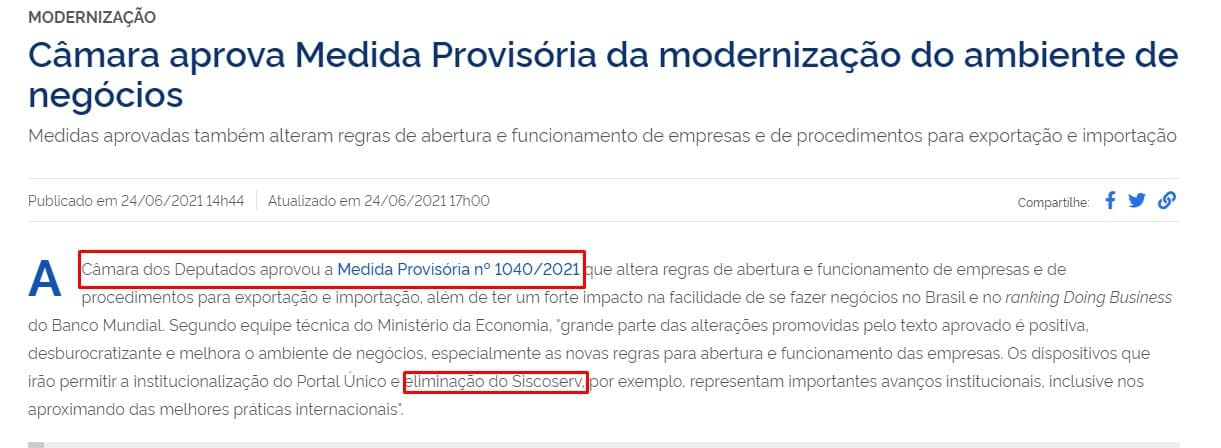 Medida Provisória Siscomex